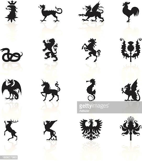 black symbols - heraldic animals - griffin stock illustrations, clip art, cartoons, & icons