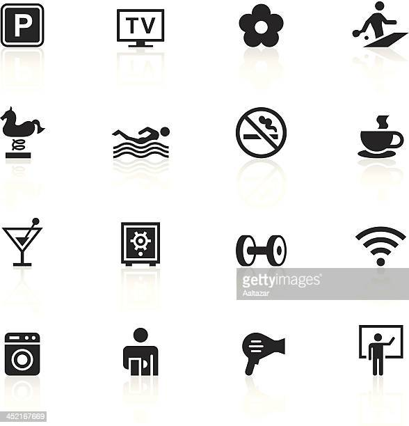 black symbols - hotel amenities - hair dryer stock illustrations, clip art, cartoons, & icons