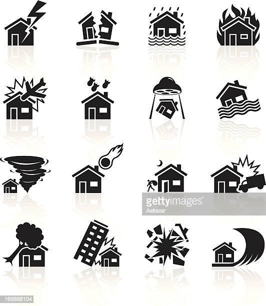 黒色記号-ハウス災害 - 事故・災害点のイラスト素材/クリップアート素材/マンガ素材/アイコン素材