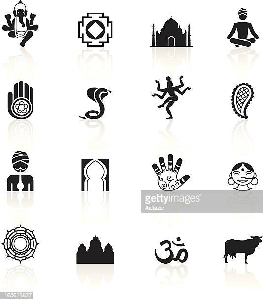 black symbols - india - shiva stock illustrations