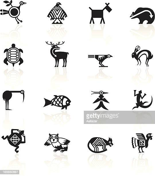 black symbols - indian tribal animals - indigenous north american culture stock illustrations, clip art, cartoons, & icons