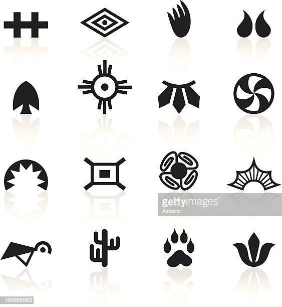black symbols - indian tribal - indigenous north american culture stock illustrations, clip art, cartoons, & icons