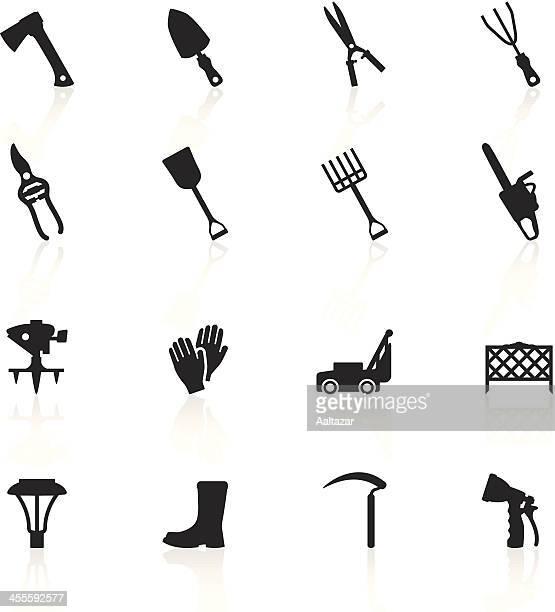 black symbols - lawn & garden tools - hedge trimmer stock illustrations, clip art, cartoons, & icons
