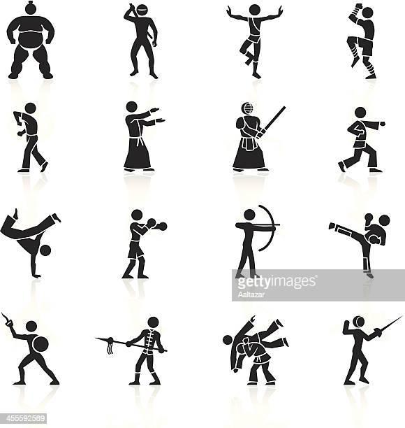 ilustrações de stock, clip art, desenhos animados e ícones de preto símbolos-artes marciais - capoeira