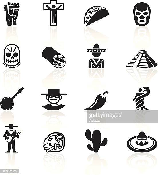 black symbols - mexico - sombrero stock illustrations