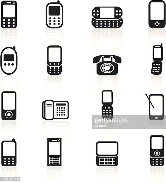 ilustraciones, imágenes clip art, dibujos animados e iconos de stock de símbolos, negro & tierra teléfonos móviles - telefono fijo