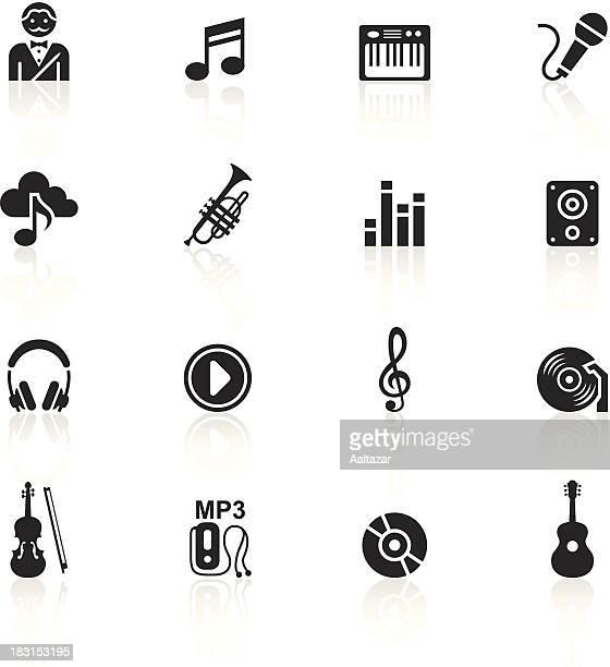 black symbols - music - soundtrack stock illustrations, clip art, cartoons, & icons