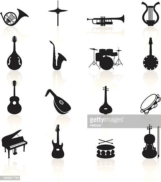 black symbols - musical instruments - saxaphone stock illustrations, clip art, cartoons, & icons