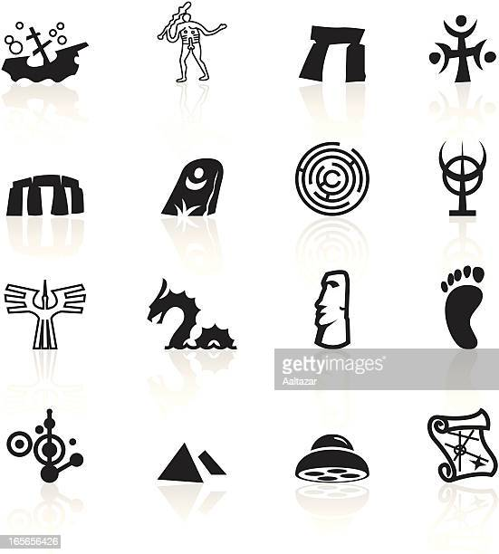 black symbols - mysteries - archaeology stock illustrations