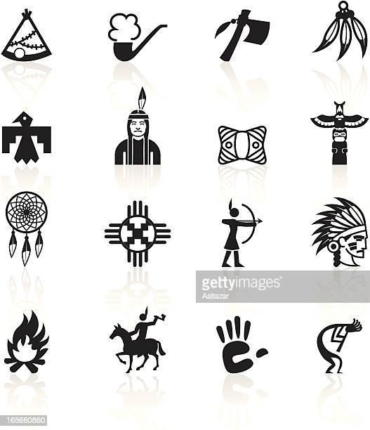 black symbols - native american - indigenous north american culture stock illustrations, clip art, cartoons, & icons