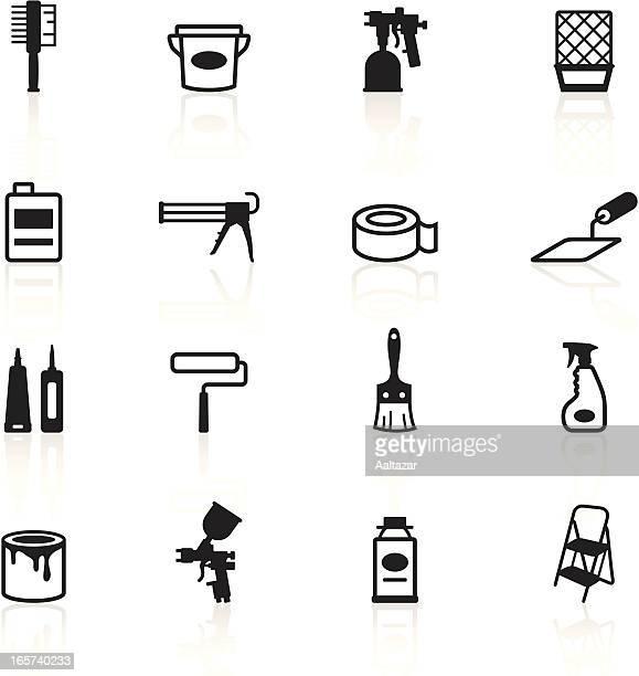 illustrations, cliparts, dessins animés et icônes de noir symboles-peinture outils - seau
