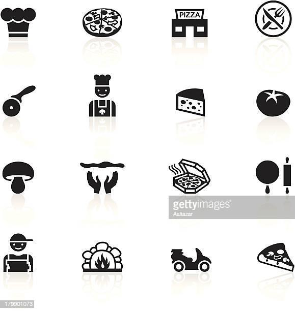 black symbols - pizzeria - moped stock illustrations, clip art, cartoons, & icons