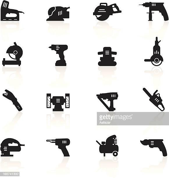 ilustraciones, imágenes clip art, dibujos animados e iconos de stock de negro símbolos de herramientas eléctricas - soldador