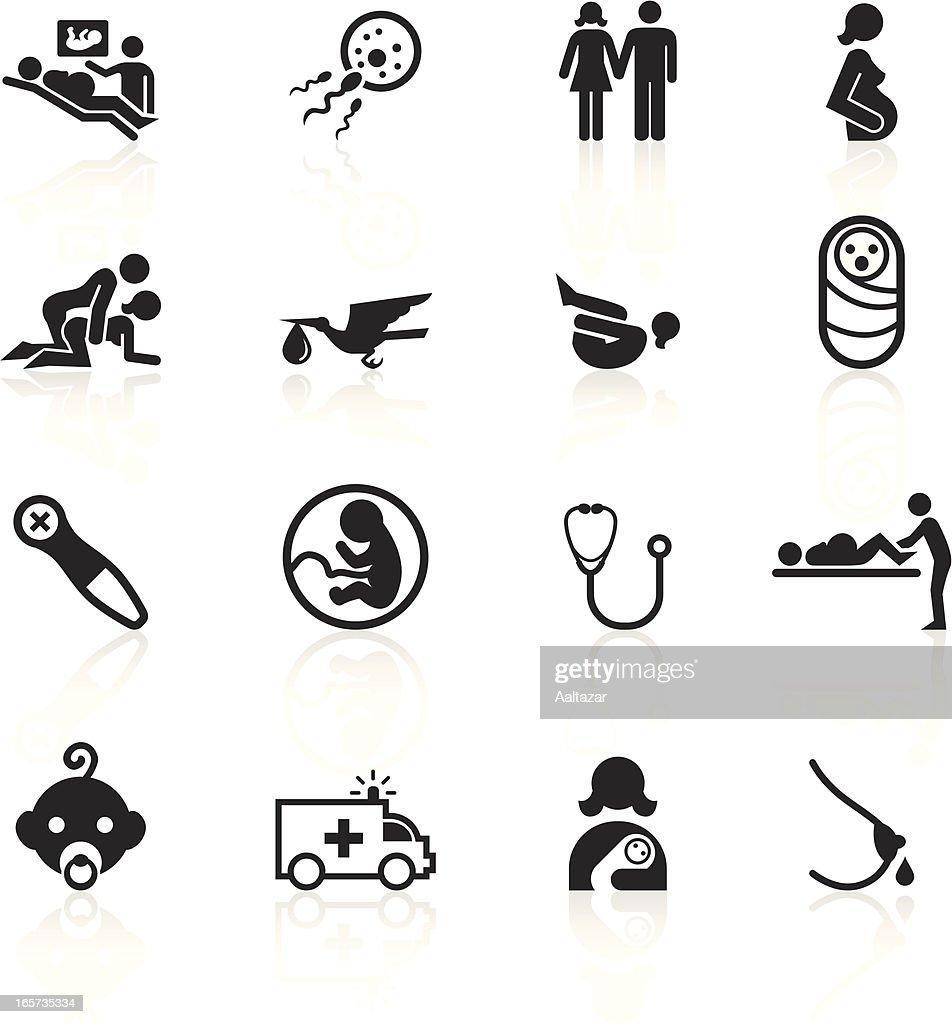 Black Symbols - Pregnancy and Childbirth : stock illustration