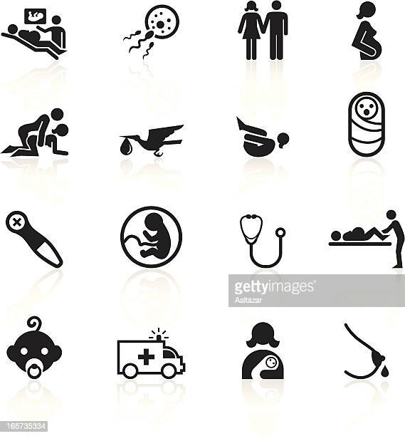 black symbols - pregnancy and childbirth - sex and reproduction stock illustrations, clip art, cartoons, & icons