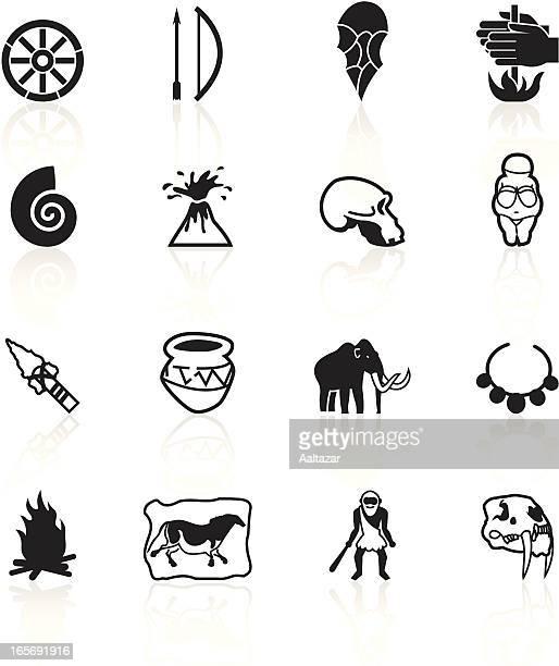 ilustraciones, imágenes clip art, dibujos animados e iconos de stock de prehistory símbolos, negro - pintura rupestre