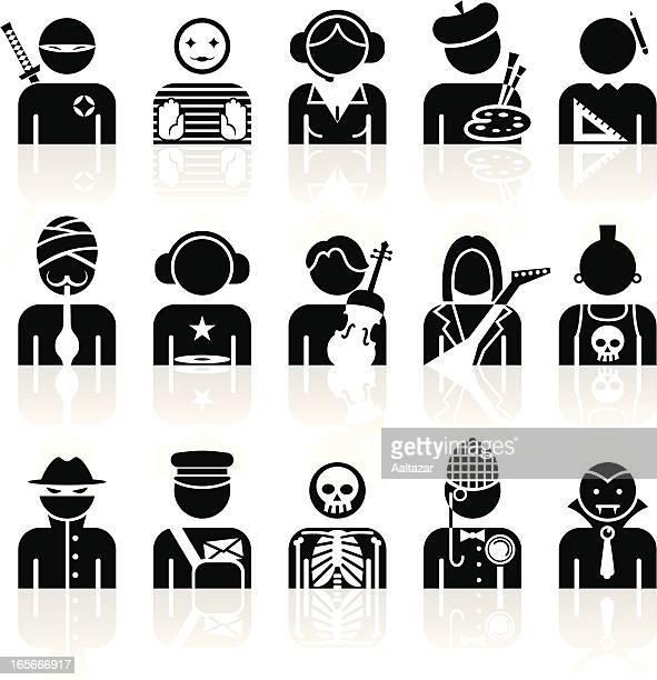 illustrations, cliparts, dessins animés et icônes de noir symboles-professions - facteur