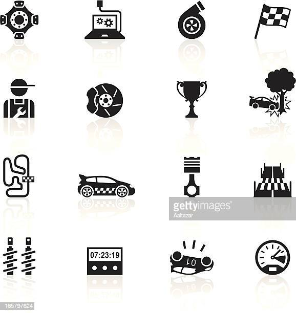 black symbols - rally - rally car racing stock illustrations, clip art, cartoons, & icons