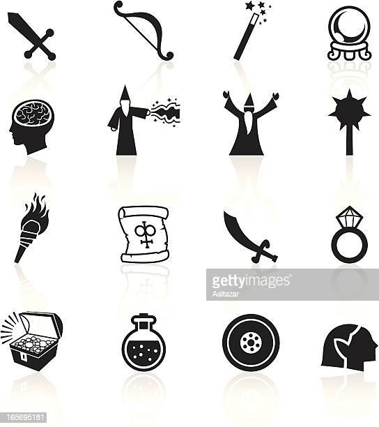 black symbols - role playing games - wizard stock illustrations, clip art, cartoons, & icons