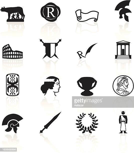 black symbols - roman empire - rome italy stock illustrations, clip art, cartoons, & icons