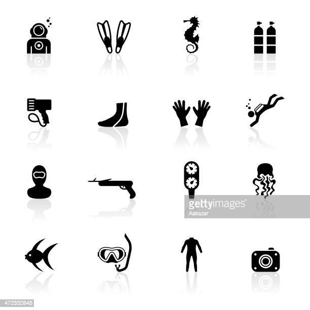 black symbols - scuba diving - diving stock illustrations