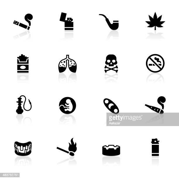 ilustraciones, imágenes clip art, dibujos animados e iconos de stock de negro símbolos-para fumadores - fumar marihuana