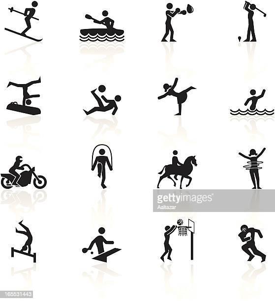black symbols - sports - horseback riding stock illustrations, clip art, cartoons, & icons
