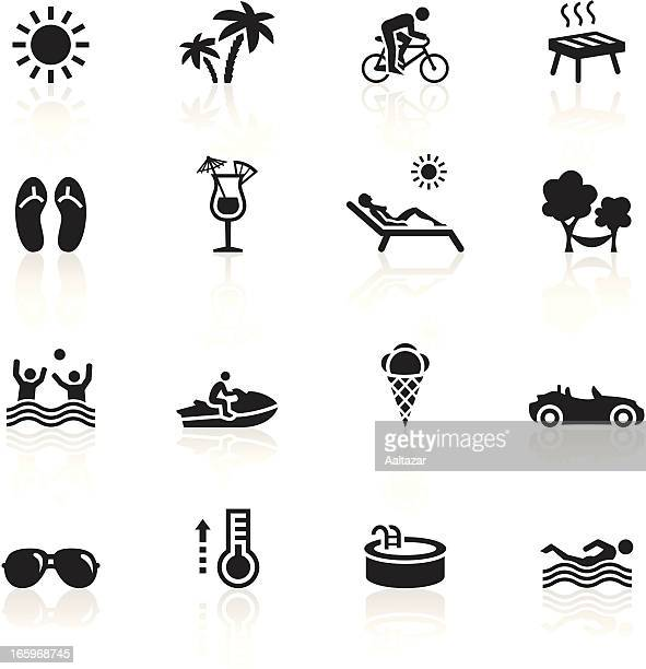 black symbols - summertime - holiday travel stock illustrations, clip art, cartoons, & icons
