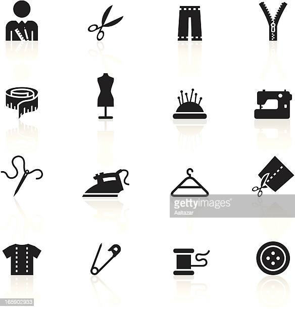black symbols - tailor - sewing machine stock illustrations, clip art, cartoons, & icons