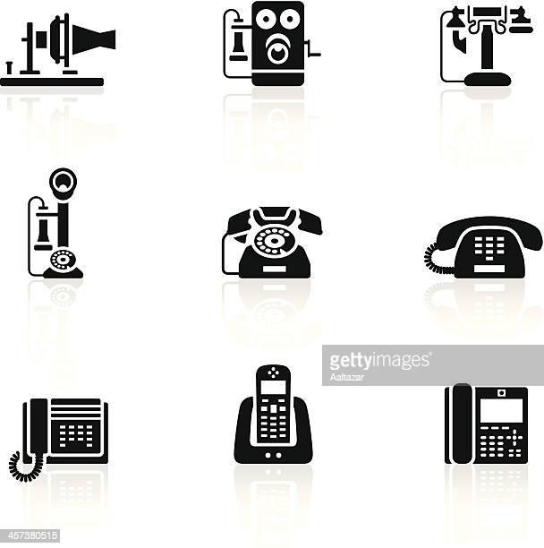 black symbols - telephone evolution - candlestick phone stock illustrations