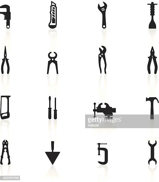 Preto símbolos-ferramentas