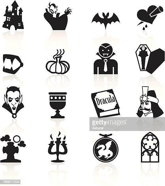 ilustraciones, imágenes clip art, dibujos animados e iconos de stock de negro símbolos-vampiro - vampiro