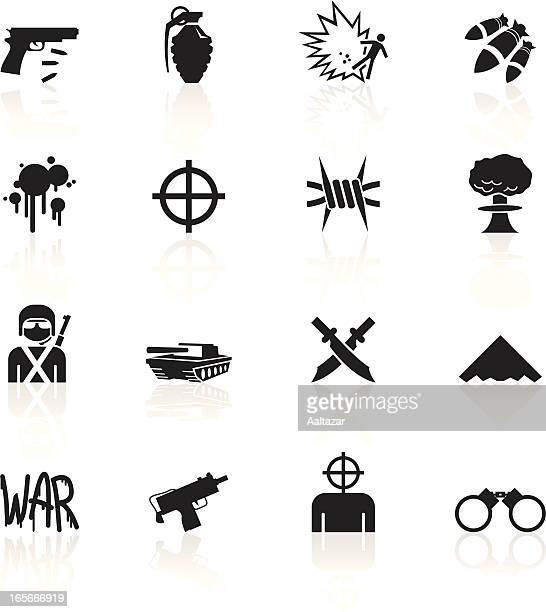 illustrazioni stock, clip art, cartoni animati e icone di tendenza di nero simboli-guerra - terrorismo