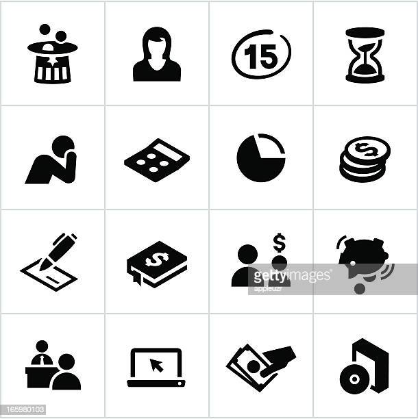 black tax icons - poverty stock illustrations