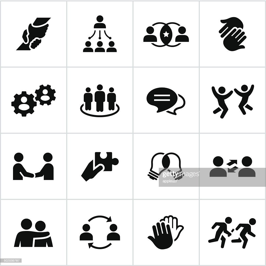 Black Teamwork Icons