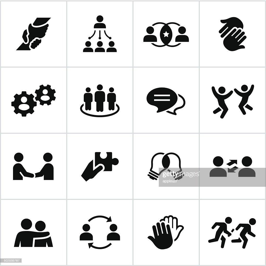 Black Teamwork Icons