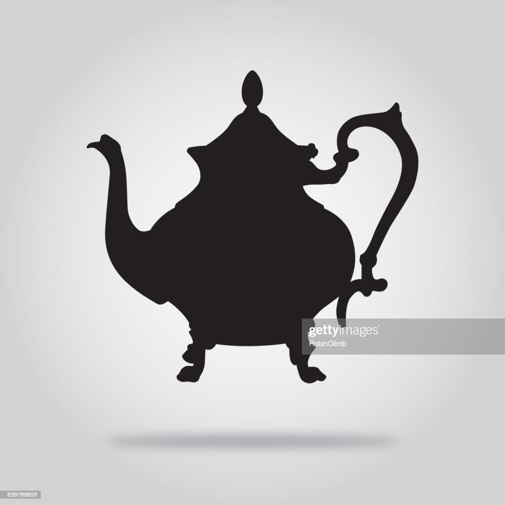 Black teapot Icon 4 : stock illustration