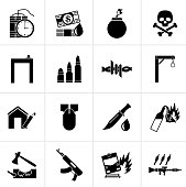 Black terrorism and gangster equipment icons