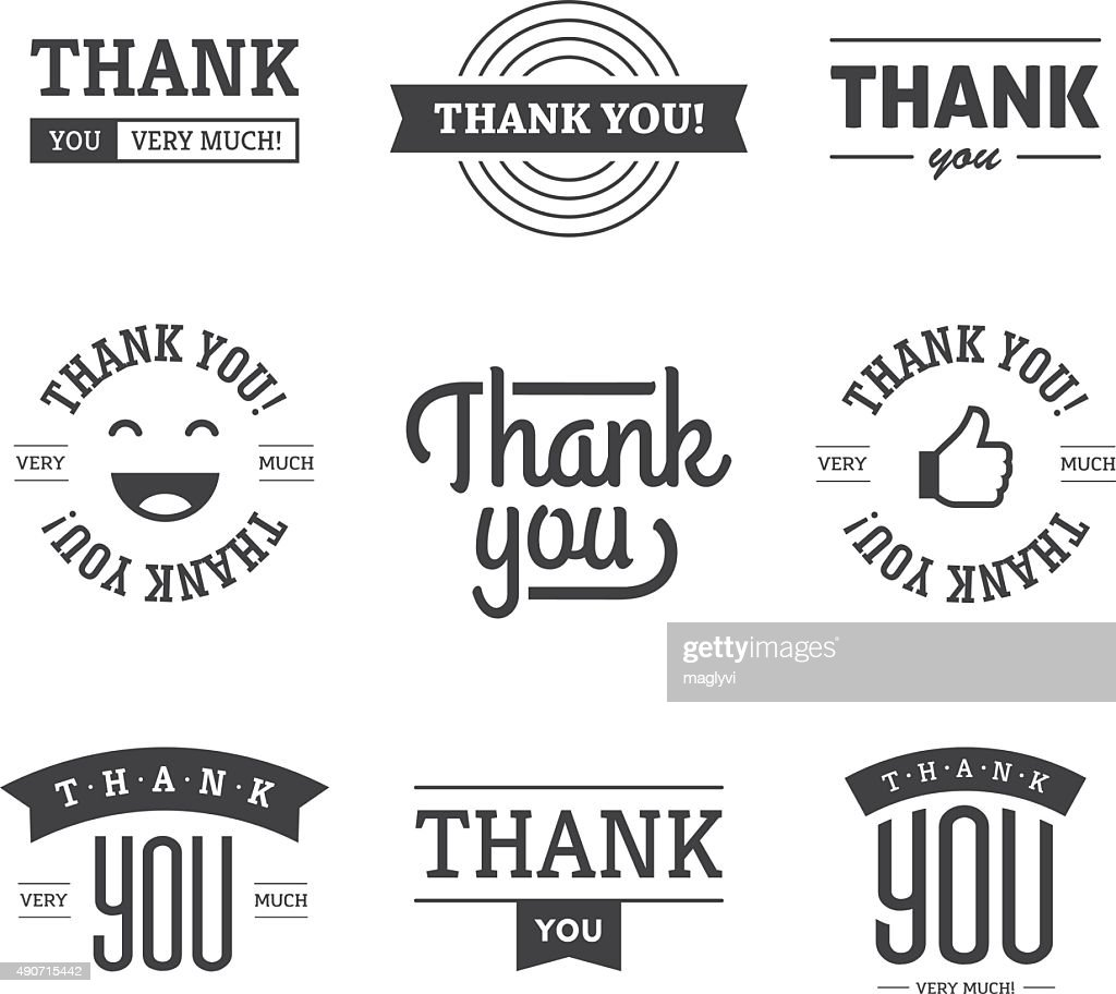 Black Thank you Labels and Signs