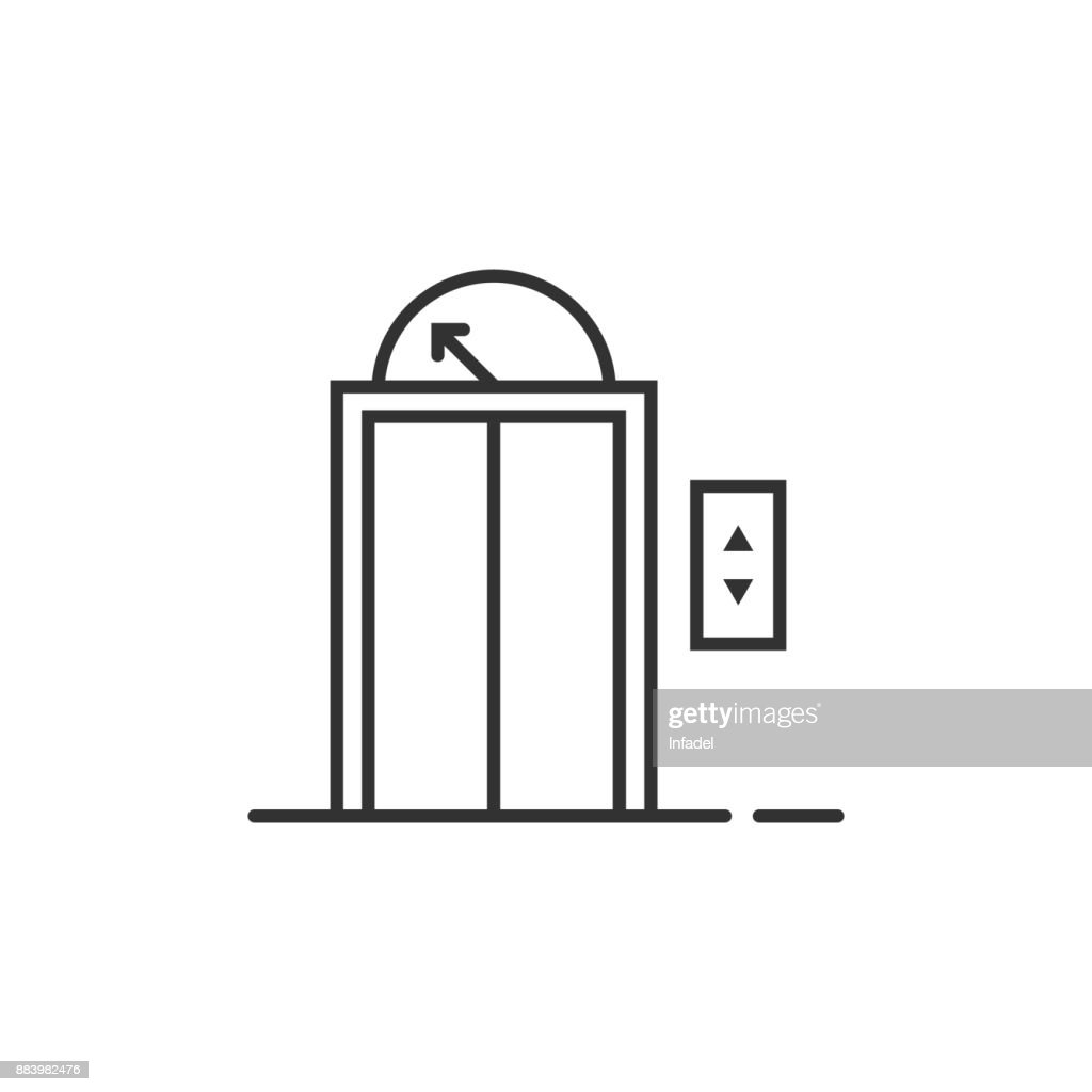 black thin line elevator icon for house or hotel
