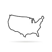 black thin line usa icon with shadow