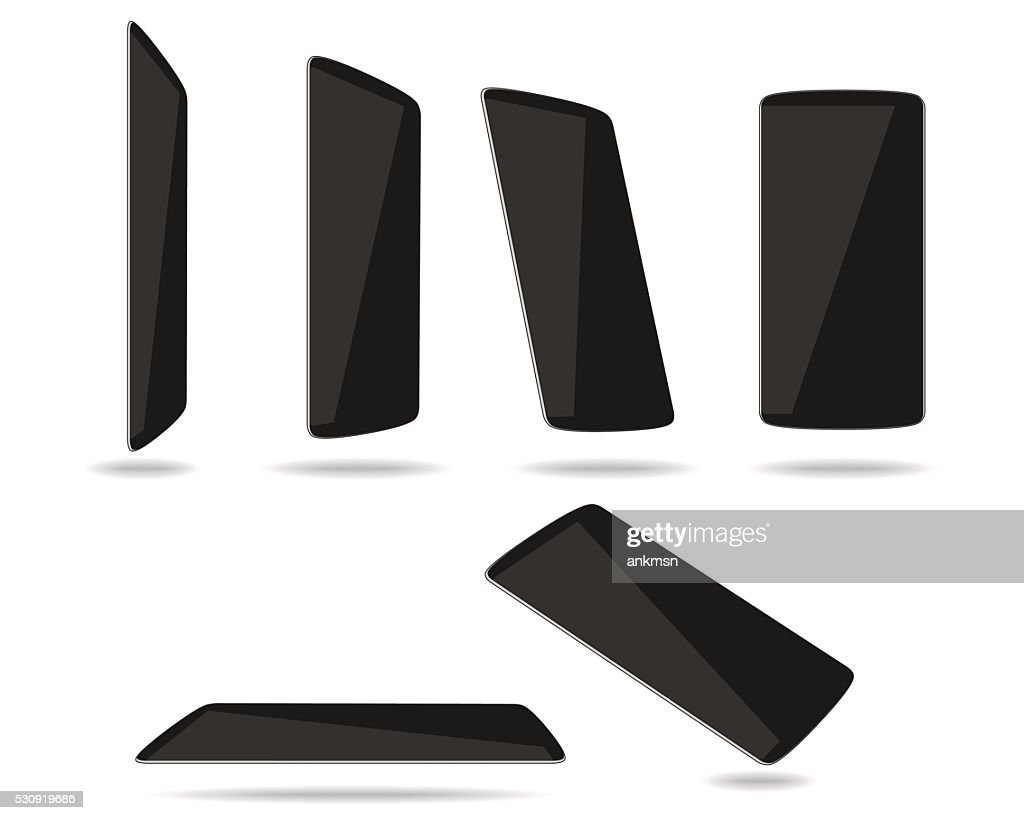 Black thin smartphones face different foreshortening