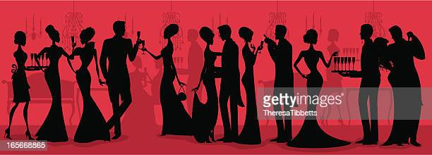 black tie ball silhouette - dressing up stock illustrations