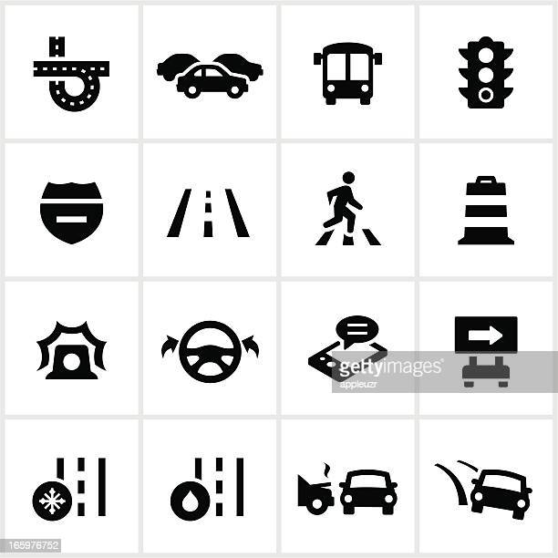 black traffic icons - road marking stock illustrations