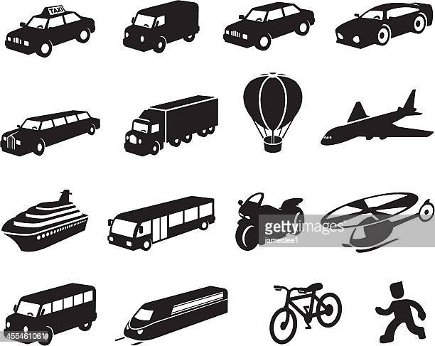 Black Transport Icon Set