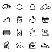 Black Trash Management Icons - Line Style