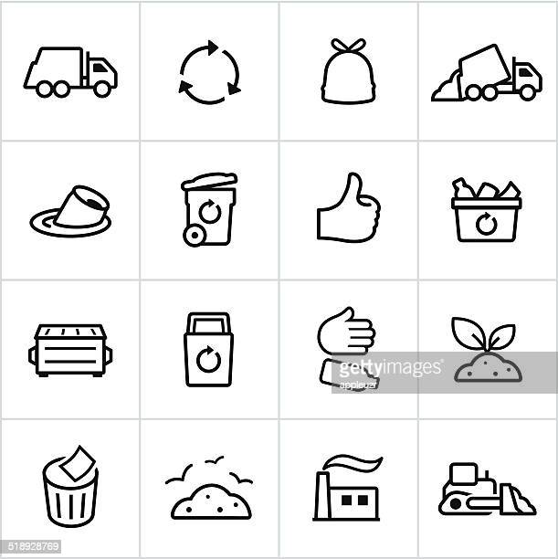 black trash management icons - line style - garbage bin stock illustrations