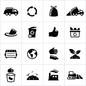 Black Trash Management Icons