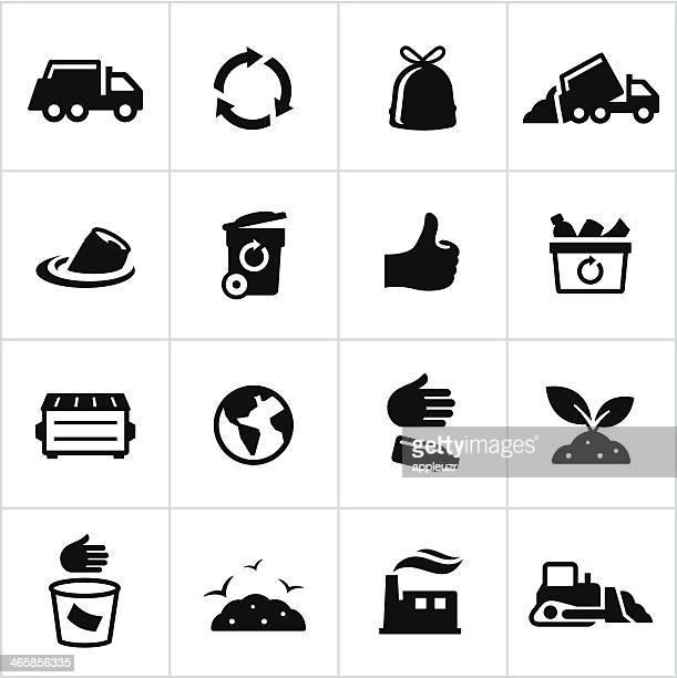 illustrations, cliparts, dessins animés et icônes de noir ordures icônes de gestion - humus