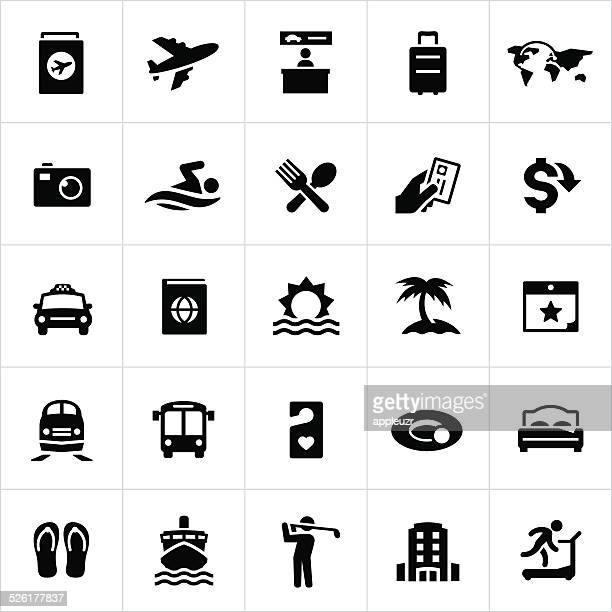 black travel and vacation icons - business travel stock illustrations, clip art, cartoons, & icons